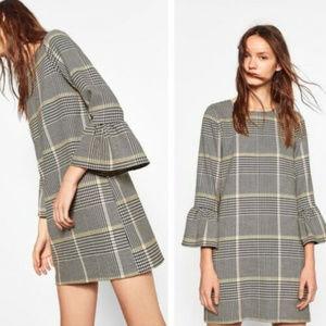 Zara L Bell Sleeve Houndstooth Dress Plaid check